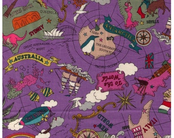 HALF YARD Yuwa - The World Map on PURPLE by Yoko Okamoto - Kawaii, Central Park, Mediterranean Sea, London, Australia - Japanese