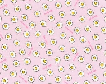HALF YARD Lecien - Minny Muu PINK Fried Eggs - Fall 2016 - Egg White Yoke Sunny Side Up - Yellow Polka Dot - Japanese Imported