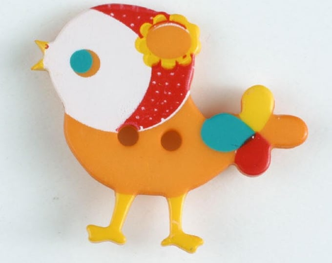 BIRD Button - ORANGE Colorway 25 mm - Made in Germany - Washable and Dry Cleanable 330883