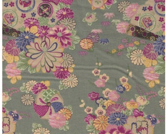 HALF YARD Yuwa -  Fan, Sakura, Chrysanthemum Flowers on Pastel - Cherry Blossom, Traditional Japanese Flowers, Geometric - Yukata 829317-D