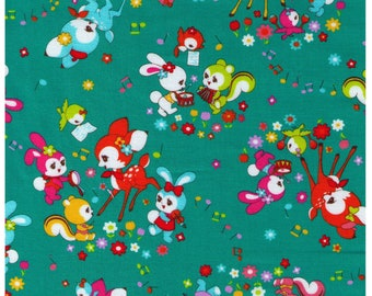 HALF YARD Cosmo Textile - Kawaii Musical Animals on TEAL 02405-1D - Panda, Duck, Elephant, Bunny, Rabbit - Japanese Import