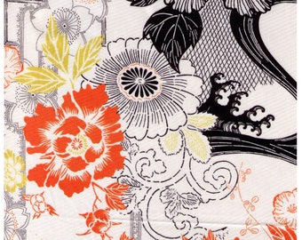 Half Yard Kei - Oriental Modern with Orange, Black, Grey and Yellow - KS7703 Flower, Floral, Bouquet, Garden - Japanese Import