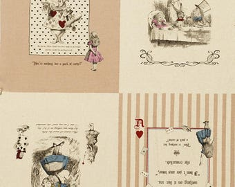 PANEL Lecien - Girl's Story Summer 2017 - Alice in Wonderland Panel Tan and Black - White Rabbit, Queen of Hearts Bows - 40832-10
