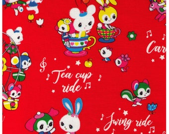 HALF YARD Honey Tune - Playtime on RED - Carnival, Teapot Ride, Ferris Wheel, Carousel - Lecien Japanese