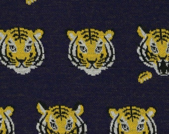 HALF YARD Kokka - Tigers on Navy 36050-1C - Knitted Jacquard - 100% Cotton 32 in wide - Japanese Import Fabric