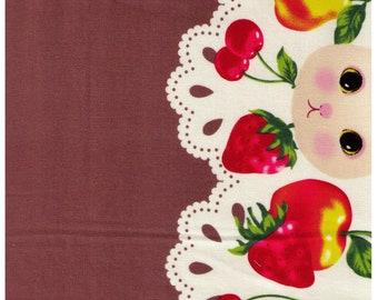 HALF YARD Kobayashi - Alice in Wonderland - Petit Lapin Brown Border Print - Jardin D'Alice - Strawberry, Apple, Rabbit Japanese Import