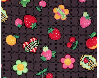HALF YARD Yuwa - Cute Fruits and Flowers on Block Grid - BLACK Colorway- Atsuko Matsuyama 30s collection 116563 - Japanese Import Fabric