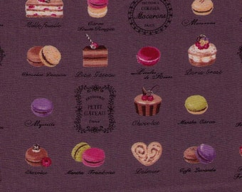 HALF YARD Yuwa Fabric - Mini Paris French Patisserie on Slate Grey Brown 816850-E - Éclair, Macarons, Palmier, Tart, Cake Dessert  Japanese