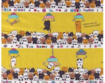 HALF YARD Kobayashi - Neko Claw Machine YELLOW - KTS6469 - Kitten, Kitty, Cat Coin Machine - Cotton