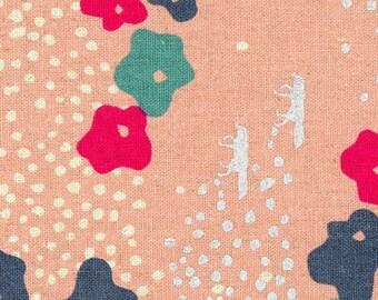HALF YARD Kokka Echino - Meadow on Peach/Pink Ekx97010-10A - Silver Metallic Foxes, Natural Dots, Red, Blue Flowers -Fox - Cotton Linen