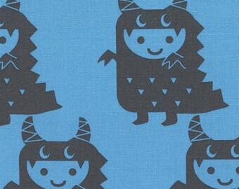 HALF YARD Kiyohara - Boys and Monsters on Blue - Puti De Pome - PTMF 121 Bl - Cotton Linen Blend - kaiju kigurumi - Import