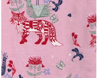 HALF YARD - Scandinavian Diary on PINK by Lisa Grue Line Drawing 50300-300B - Red, Green, Blue - Fox, Bird, Flower, Butterfly, Tulip