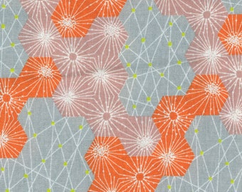HALF YARD Kokka - Tayutou - Dewdrop - Orange Colorway - 5110-5A - Cotton Linen Blend - Geometric, Abstract