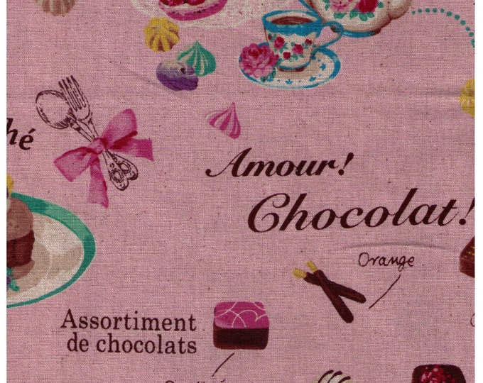HALF YARD Yuwa - Sweets Rondeaux Linen Cotton Blend - Paris Map of Sweets on PINK - Macaron, Tea, Pastry, Eiffel Tower, Paris, Chocolate