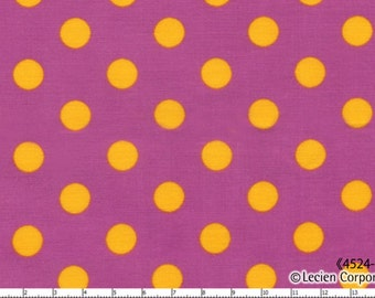 HALF YARD - Lecien - Color Basic - 4524-PUY Purple with Yellow Large Dots - Japanese Import Fabric