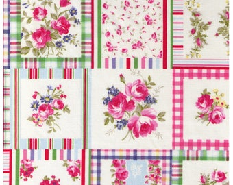 HALF YARD Yuwa - Floral Square Cheater Pink/Red/Green - Live Life Collection - 825136-A - Japanese Import