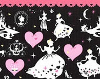 "End of Bolt - 25"" Cut - LECIEN - Border Print 40602-100 Girl's Story Cinderella on PINK - Glass Slipper Pumpkin Carriage Princess Prince"
