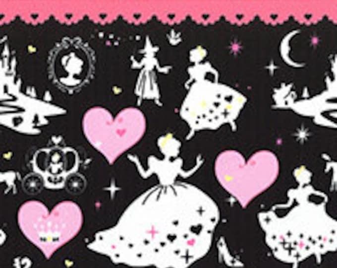 "Last Chance EOB - 25"" Cut - LECIEN - Border Print 40602-100 Girl's Story Cinderella on PINK - Glass Slipper Pumpkin Carriage Princess Prince"