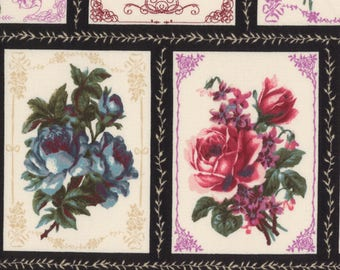 HALF YARD Lecien - Rose Life Garden 2017 by Kayo Enza - Rose Blocks with Black borders  31517-100 - Floral, Flower, Bouquet - Japanese