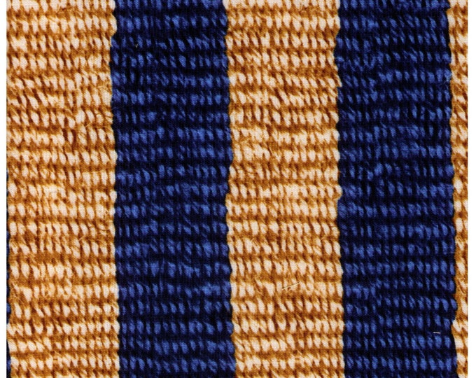 HALF YARD - Photo Realistic Natural and Blue Striped Basket Weave, Oxford Cotton - Cosmo Textiles, Japanese Import