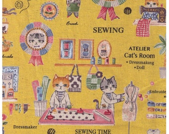 HALF YARD - Yuwa - Atelier Cat's Room - Sewing Cats on YELLOW - Sobakasu-Kids - Linen Cotton Oxford