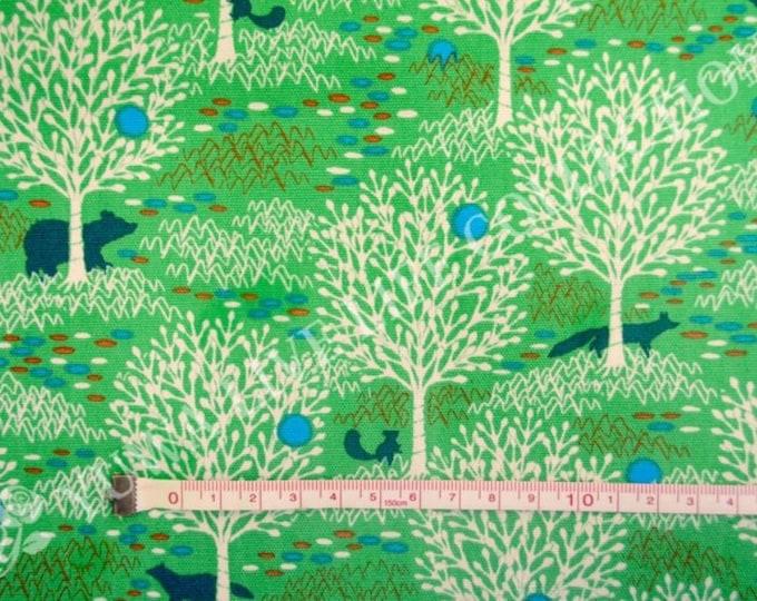 HALF YARD Yuwa - Woodland by Anyan - Sunny Green Colorway 152175-B - Cotorienne Japanese Fabric