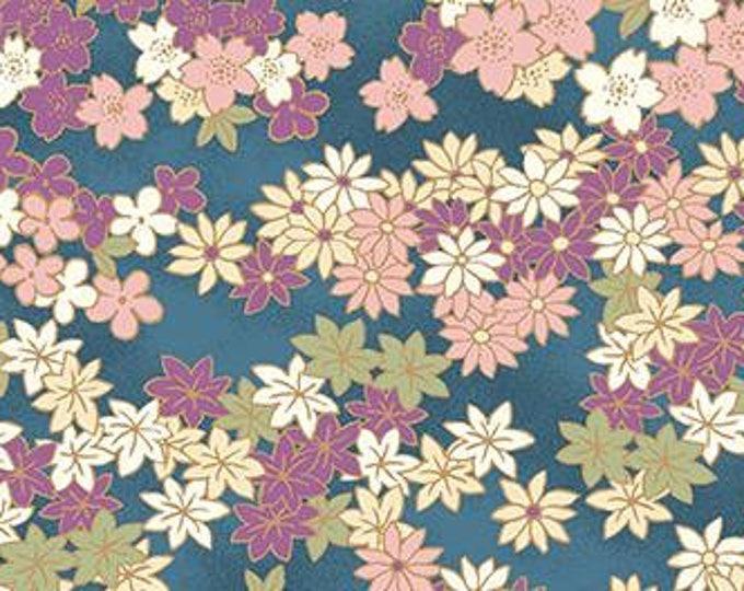 HALF YARD Quilt Gate - Hyakka Ryoran Chiyagami Collection - Pastel Sakura Flowers on Blue w/ Gold Metallic - Asanoha, Seigaiha - HR3200-11G