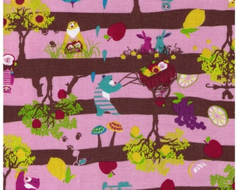 HALF YARD - Kayo Horaguchi - Apples and Bears Pink and Brown Stripes - Kiyohara Imported Japanese - Bear, Fox, Tree, Owl, Apple, Stripe