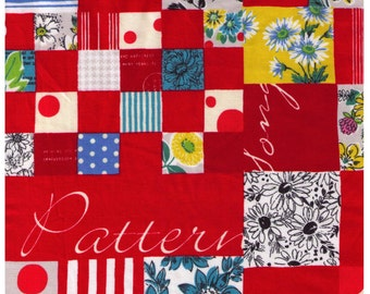 HALF YARD Yuwa - Red Mixed Cheater Print with Text  - Suzuko Koseki  826150-A- Japanese Import- Paris Bonjour France Merci Pattern Daisy