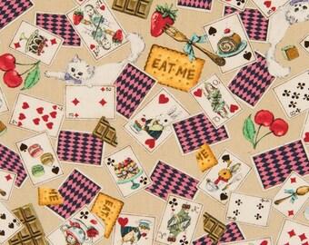 HALF YARD - Alice in Wonderland Playing Cards on TAN - Rabbit, Cat, Cake, Teapot, Cupcake, Watch, Hearts,Eat Me - Cosmo Textile Japanese