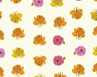 HALF YARD - Pink Roses in White - 51203-9  Far Far Away 2 by Heather Ross - Windham Fabrics - Far Far Away II