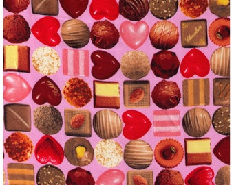 HALF YARD Kokka - Photo Realistic Box of Chocolates on PINK - Sateen - Fruit Heart, Dark Chocolate, Strawberries, Almond, Truffle