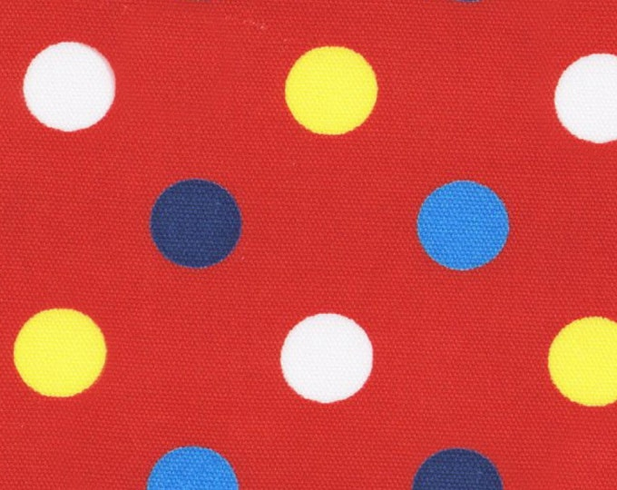 HALF YARD - Lecien Color Basic - 4601-RZ Red with Multi Large Dots - Yellow Aqua Blue Navy White - Canvas Special Edition Japanese