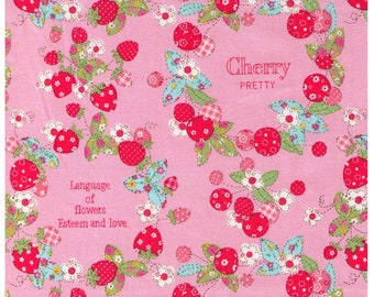 HALF YARD Yuwa - Strawberry Cute and Cherry Pretty Wreath - Strawberries and Cherries on Pink - 116550-B - Atsuko Matsuyama 30s collection