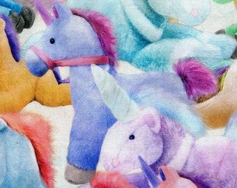 HALF YARD - Fancy Pop - Kokka - Plush Unicorns - Digital Print - 21050-1A - Cotton Sheeting - Toy, Plush, Pony, Horse, Stuffed Animal