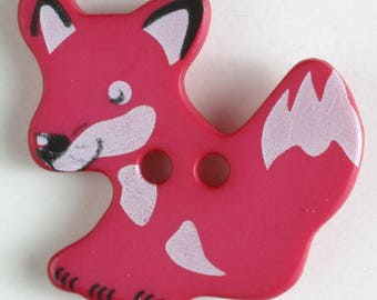 FOX Button - Dark PINK Colorway 25 mm - Made in Germany - Washable and Dry Cleanable 330875