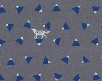 HALF YARD Kokka Echino Spring 2018 - TRIANGLE Jg96900-904D - Silver Fox on Blue Triangles on Grey - Cotton Linen