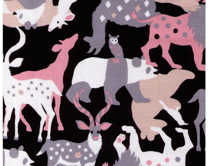 HALF YARD Kiyohara - Kayo Horaguchi - Animal Parade on BLACK - 49-Bk - Cotton Linen Lightweight Canvas - Imported Japanese Fabric
