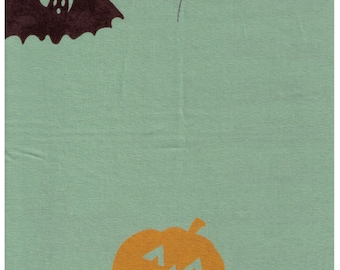 HALF YARD Yuwa - Halloween on Sage Green - Black Cat, Bat, Jack-o-lantern - jz-812994 Yoshiko Jinzenji - Low Volume Print - Japanese Import