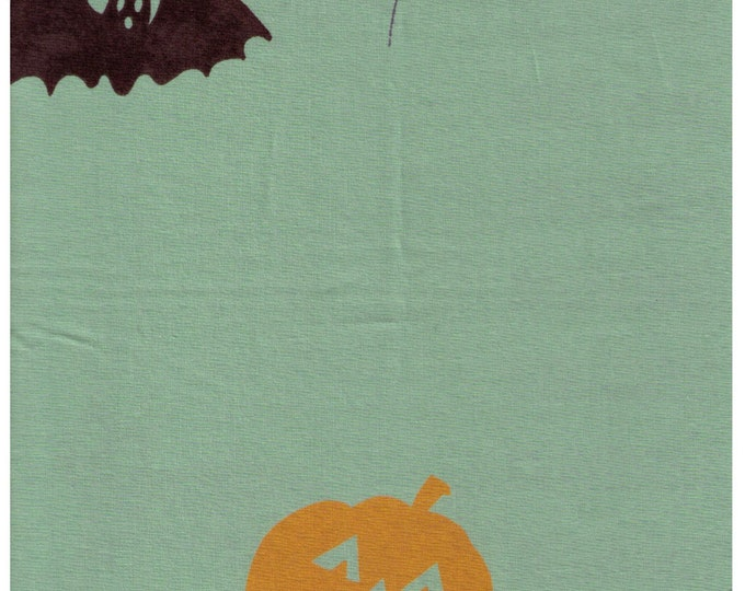 HALF YARD Yuwa - Halloween on Sage Green - Black Cat, Bat and Orange Jack-o-lantern - Yoshiko Jinzenji - Low Volume Print - Japanese Import
