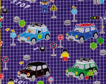 HALF YARD Kokka - Lego Friends and Mini Cooper Car - Street Signs, Caution, Stop 2200-2C - Push Pink Hello My Friends Collection - Japan
