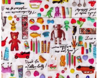 HALF YARD Photo Realistic Toys on White - Digitally Printed -  Kewpie Doll, Alien, Dino, Robot, Rubber Ducky, Mushroom - Cosmo Textile Japan