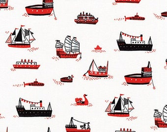 HALF YARD Hello Lucky - Ships on White - By Hello!Lucky for Robert Kaufman - Eunice Moyle and Sabrina Moyle