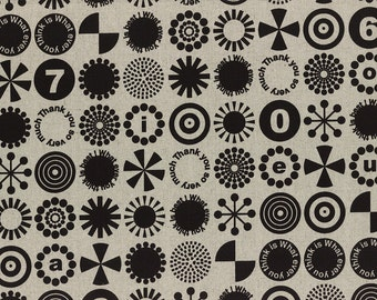 HALF YARD - First of Infinity Collection 31235-11 Thank You So Very Much - Black on Linen - Cotton Linen Blend Geometric  Lecien Japanese