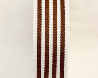 HALF YARD - Japanese Webbing - Color 243  Dark Brown and White - 40MM WIDE - Item 1540401 Japanese Imported