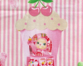 HALF YARD Kokka - Usaron Dreamy Bunny on Pink Stripes 35500-501A - Japanese Imported Fabric