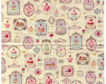 HALF YARD Yuwa Sweet Rondeaux - Paris French Patisserie on Ivory OXFORD 156134-A - Reduced size Print -  Éclair, Macaron Cupcake, Dessert