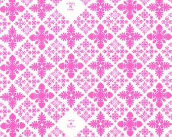 HALF YARD Lecien - Island Style Kathy Mom 2018 Pink Diamonds on White 20106-20 - Gardenia, Hawaii - Japanese Import