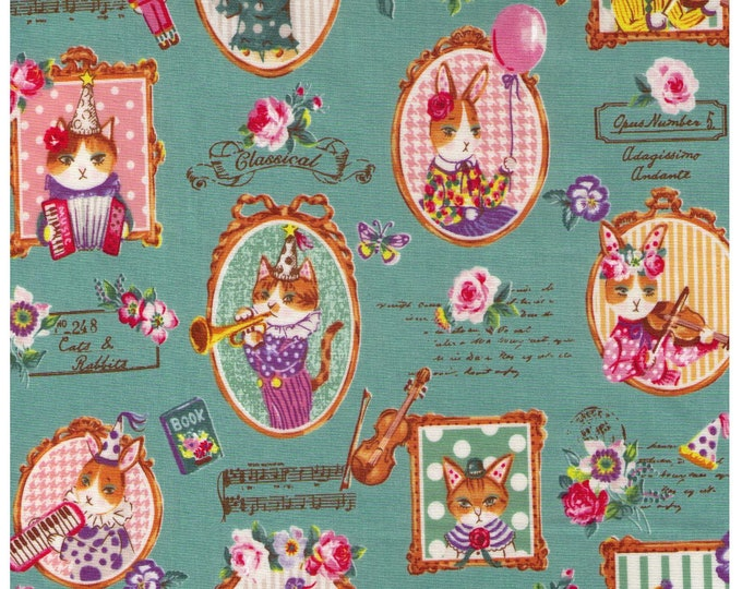 HALF YARD - Yuwa - Classical Music Kitties - Cats and Rabbits on Sage GREEN - Sobakasu-Kids - Grumpy, Party, Violin, Trumpet Quilting Cotton