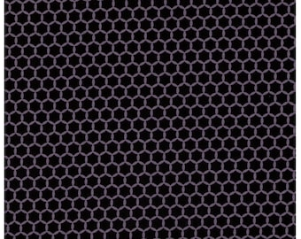 HALF YARD Yuwa Fabric - Kei Geostyle Hexacomb Black and Grey Color H - Honeycombs Polka Dots by Kei - Japanese Import Fabric